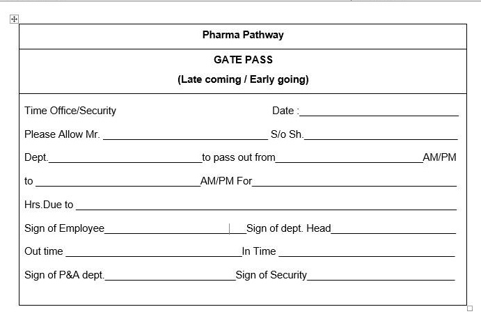 SOP For Entry And Exit Procedure For Personnel In The